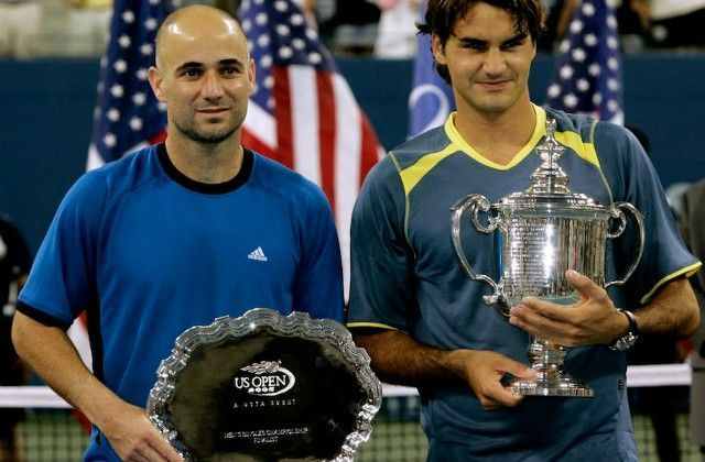 Federer beats Agassi in the 2005 US Open final