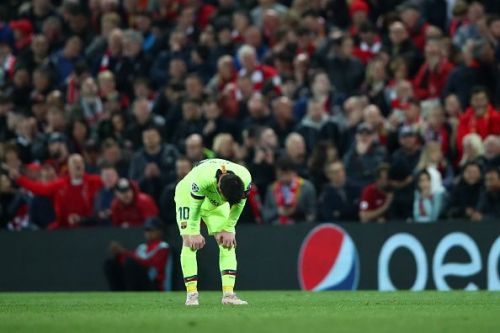 A dejected Lionel Messi during Liverpool's win over Barcelona in last season's UEFA Champions League semi-final