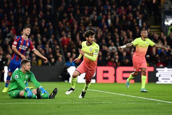 David Silva celebrataes after doubling Manchester City
