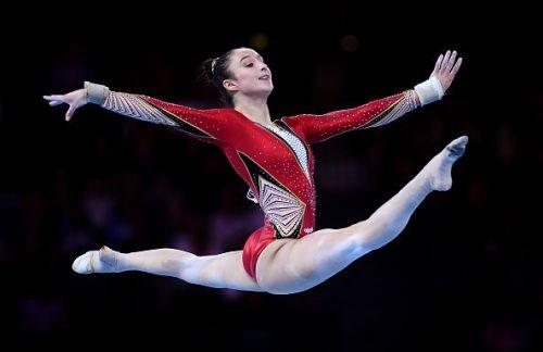 Nina Derwael in action at the 49th FIG Artistic Gymnastics World Championships