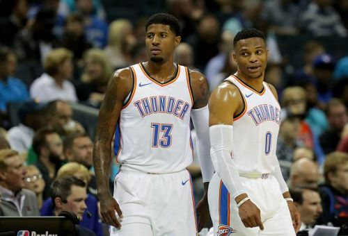 Russell Westbrook and Paul George spent two seasons together with the Oklahoma City Thunder