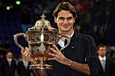 Federer completed a three-peat in Basel in 2008