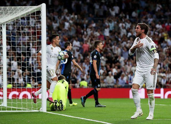 Sergio Ramos celebrates his goal for Los Blancos