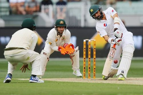 Misbah-ul-Haq in action against Australia.