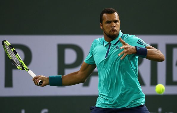 Jo-Wilfried Tsonga in action during his match against Thiem at Indian Wells in 2016