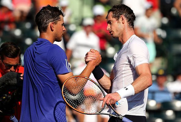 Dominic Thiem (L) and Andy Murray