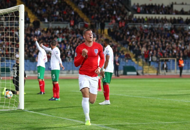 Barkley celebrates one of his well-taken goals against Bulgaria