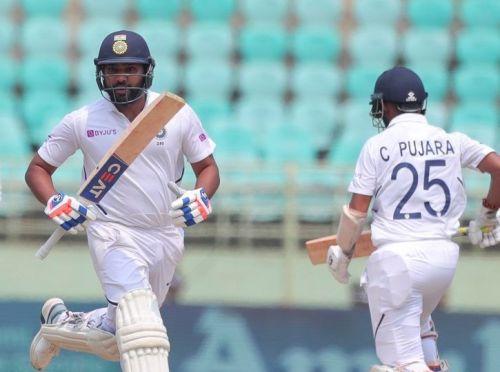 रोहित शर्मा - चेतेश्वर पुजारा (दूसरे विकेट के लिए 169 रनों की साझेदारी) फोटो: BCCI