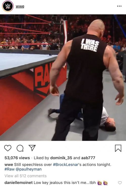 Summer Rae's comment on WWE's post highlighting Lesnar's attack