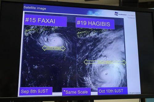 Satellite image showing Typhoon Hagibis' path