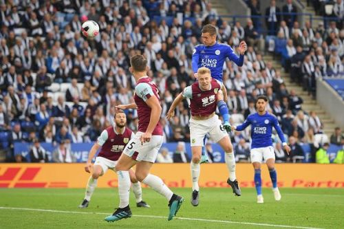 Jamie Vardy rose highest to equalise for Leicester City