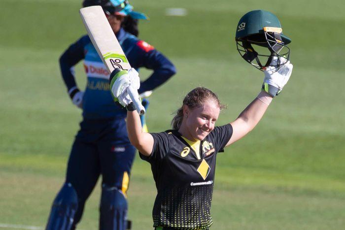 Healy celebrates her century against Sri Lanka (PC: abc.net.au)