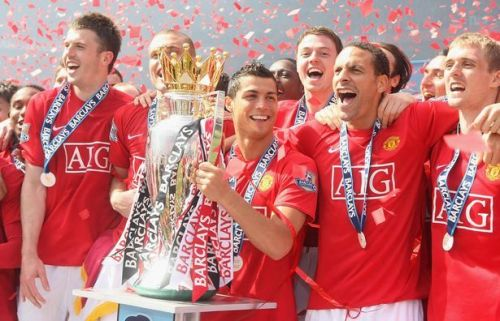 Ronaldo celebrates his third Premier League title with Manchester United in 2008-09