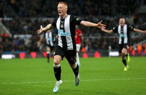 Michael Longstaff celebrates his goal for Newcastle United
