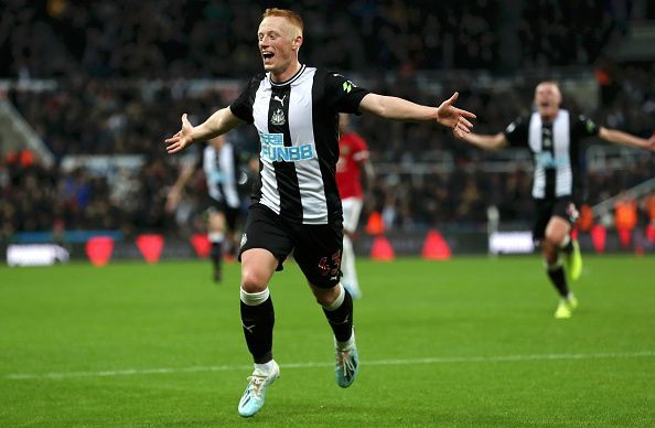 Michael Longstaff celebrates his goal for Newcastle United