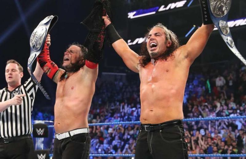 Matt Hardy and Jeff Hardy as the WWE SmackDown Tag Team Champions