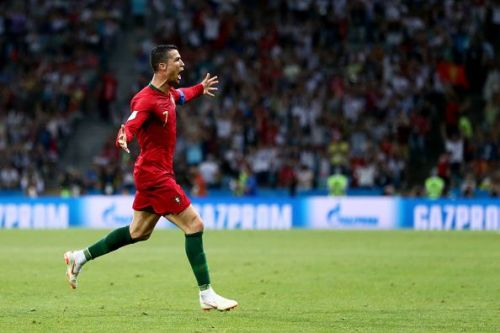 Ronaldo celebrates after scoring against Spain at the 2018 FIFA World Cup.