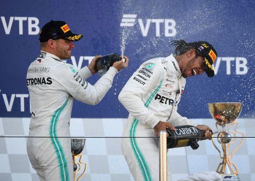 Bottas (left) and Hamilton celebrating a 1-2 in Sochi last Sunday