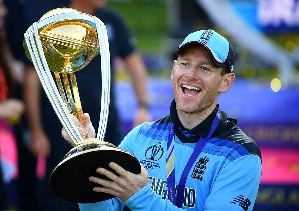 Eoin Morgan celebrating his team