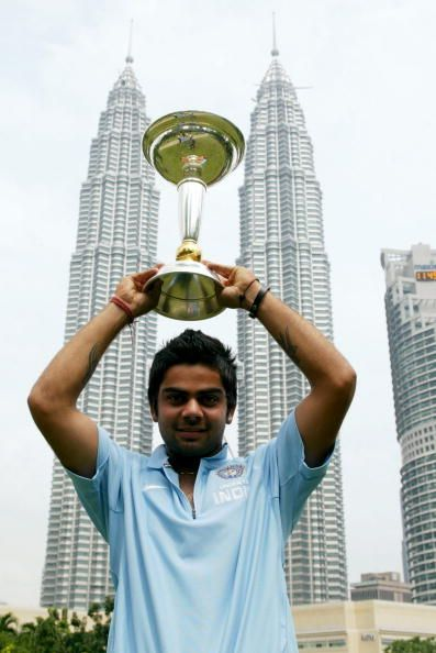Virat Kohli with the Under-19 WC trophy in 2008