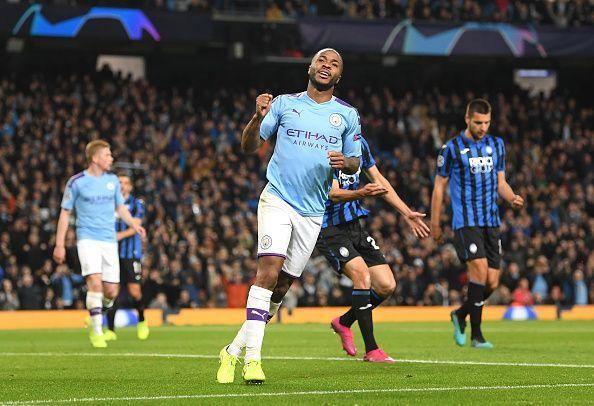 Manchester City vs Atalanta - Raheem Sterling celebrates