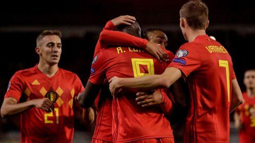 Belgium players celebrate with Lukaku on a landmark night for the Inter Milan striker during their 9-0 win
