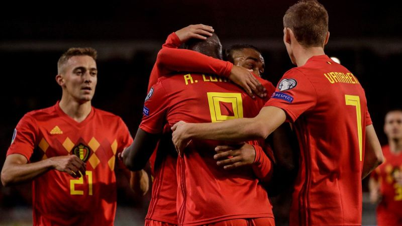 Belgium players celebrate with Lukaku on a landmark night for the Inter Milan striker during their 9-0 win