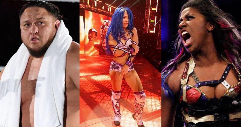 Samoa Joe, Sasha Banks and Ember Moon.