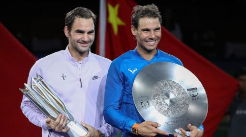 Roger Federer (L) and Rafael Nadal(R) at the Shanghai Masters-2017