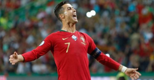 Ronaldo exults after scoring against Luxembourg in a UEFA Euro 2020 Qualifier in Lisbon