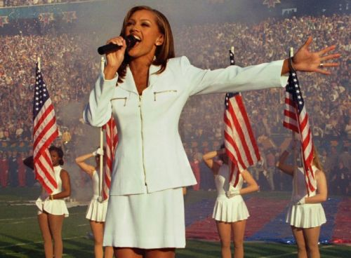Vanessa Williams performs at the start of Super Bowl XXX