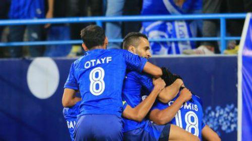 Al-Hilal's players celebrate - cropped