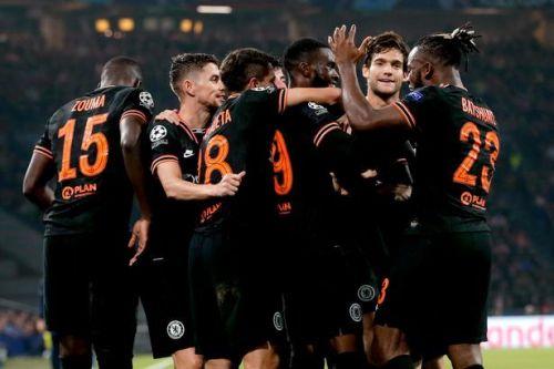 Chelsea celebrate their winner against Ajax at the Johan Cruyff Arena.