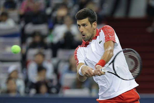 Novak Djokovic in action during the Shanghai Masters 2018