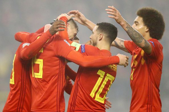 The Belgian national team celebrates a goal