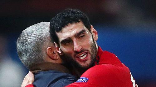 Fellaini embraces Mourinho - cropped