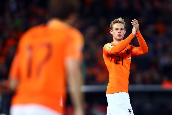 Frenkie de Jong (R) has been a key figure in Netherlands