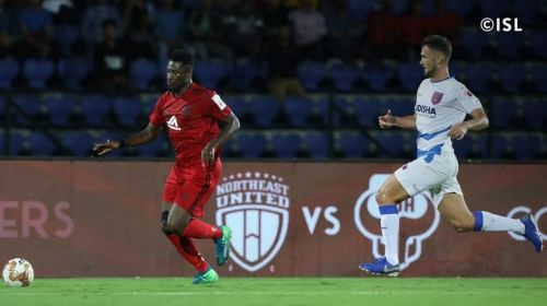 Asamoah Gyan will look to spearhead NorthEast United to the playoffs this season. PC: ISL