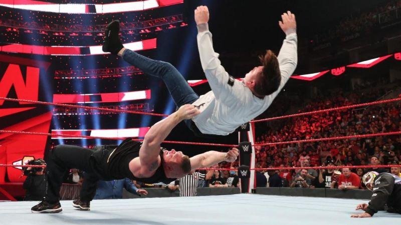 Brock Lesnar mauling Rey Mysterio