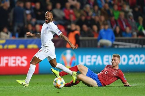 Sterling (L) wasn't at his best against the Czech Republic