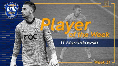 Reno 1868 FC goalkeeper JT Marcinkowski