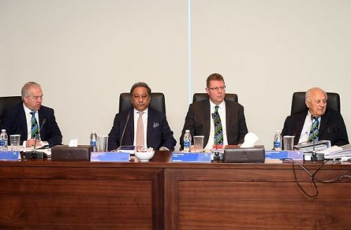 BCB president Nazmul Hassan (second from left)