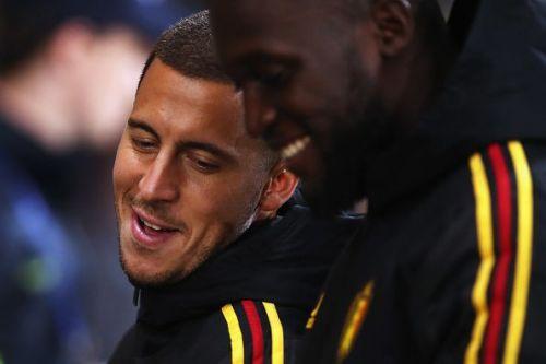 Belgium's Eden Hazard and Romelu Lukaku share a laugh