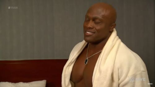 Lashley showed up in a bathrobe to open the show!