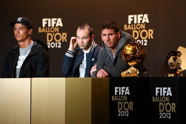 From L to R: Cristiano Ronaldo, Andres Iniesta and Lionel Messi at the 2012 Ballon d