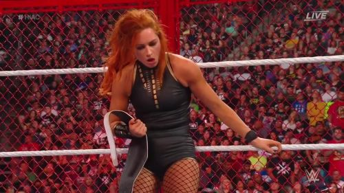 Becky retained after a great match
