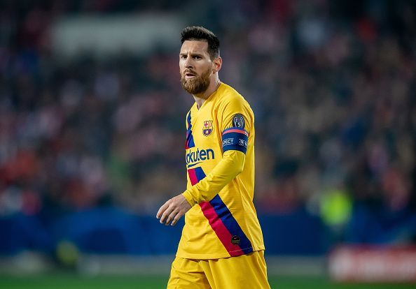 Messi opened his account in this edition against Slavia Praha.