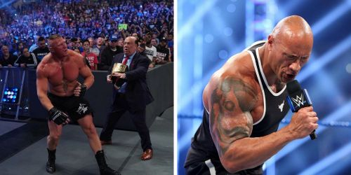 Brock Lesnar and The Rock on SmackDown