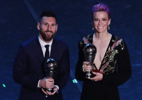 Lionel Messi and Megan Rapinoe at the Best FIFA Football Awards 2019.