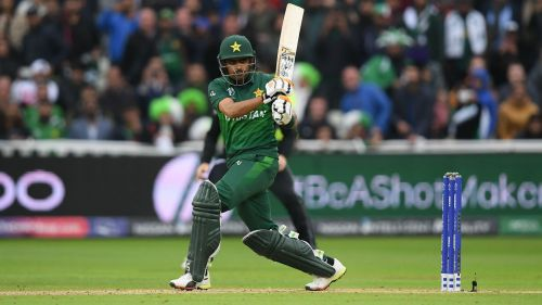 Babar Azam in action for Pakistan in one-day cricket.